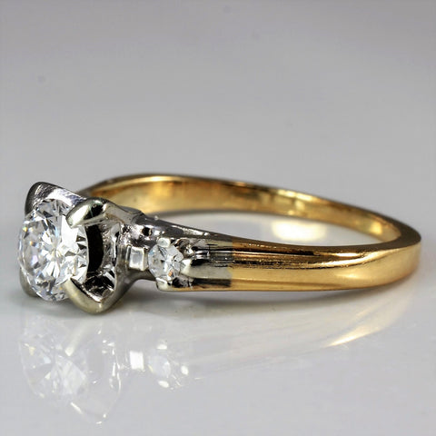 Petite 1950's Three Stone Engagement Ring | 0.46 ctw, SZ 4.5 |
