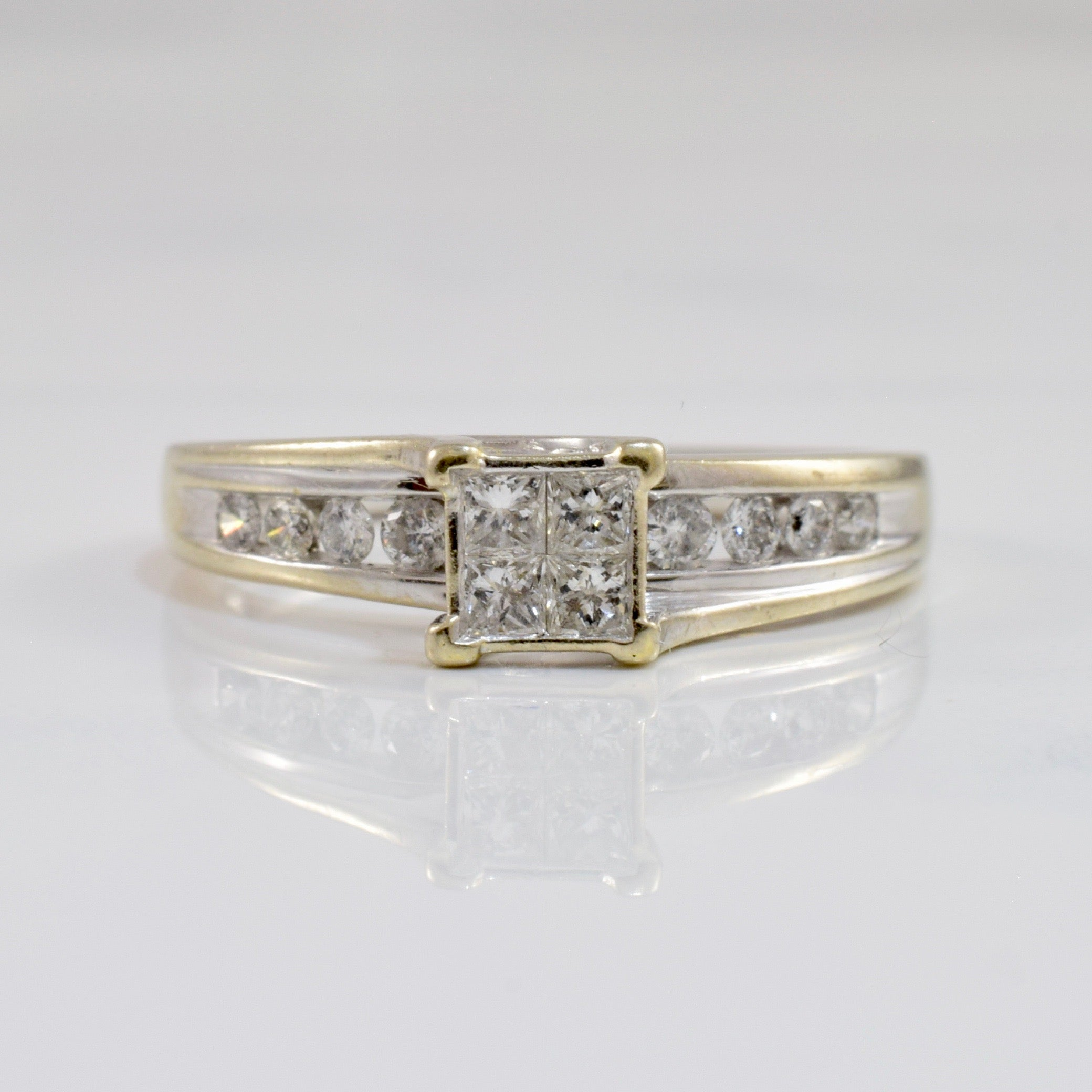 Princess Cut Diamond Cluster Engagement Ring | 0.28 ctw SZ 7.25 |