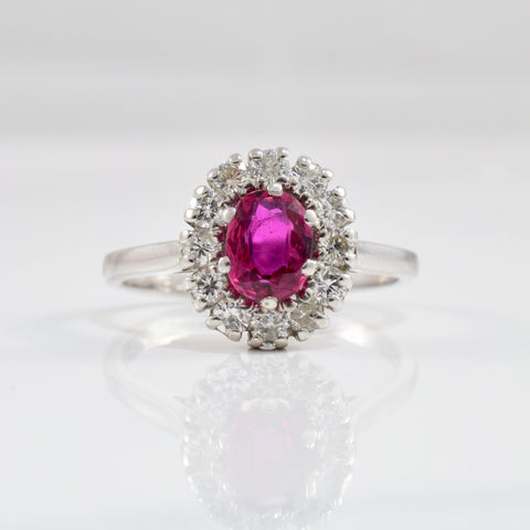 Vintage Diamond Halo Ruby Ring | 0.36 ctw SZ 5.5 |