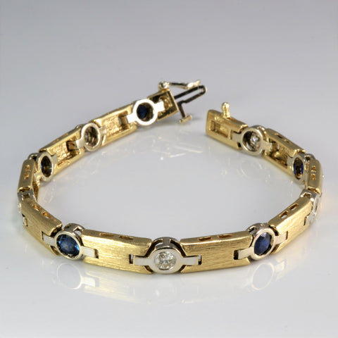 Fancy Bezel Set Diamond & Sapphire Ladies Chain Bracelet | 1.00 ctw, 7''|