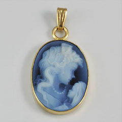 Gold Onyx & Glass Cameo Pendant