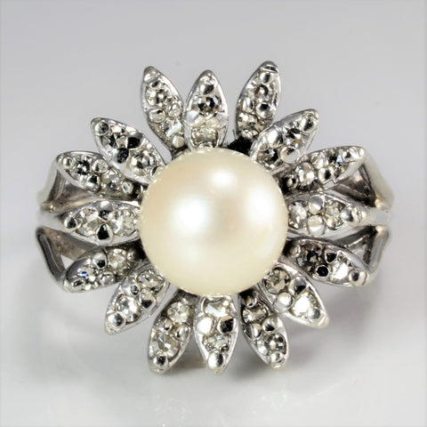 Flower Design Pearl & Diamond Cocktail Ring | 0.48 ctw, SZ 8 |