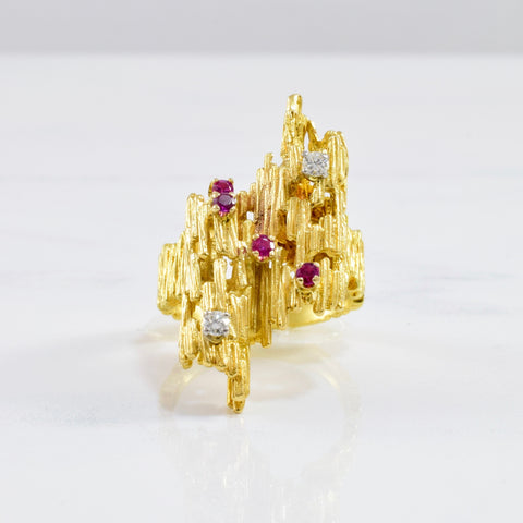 Ruby & Diamond Textured Ring | 0.08 ctw SZ 5.75 |