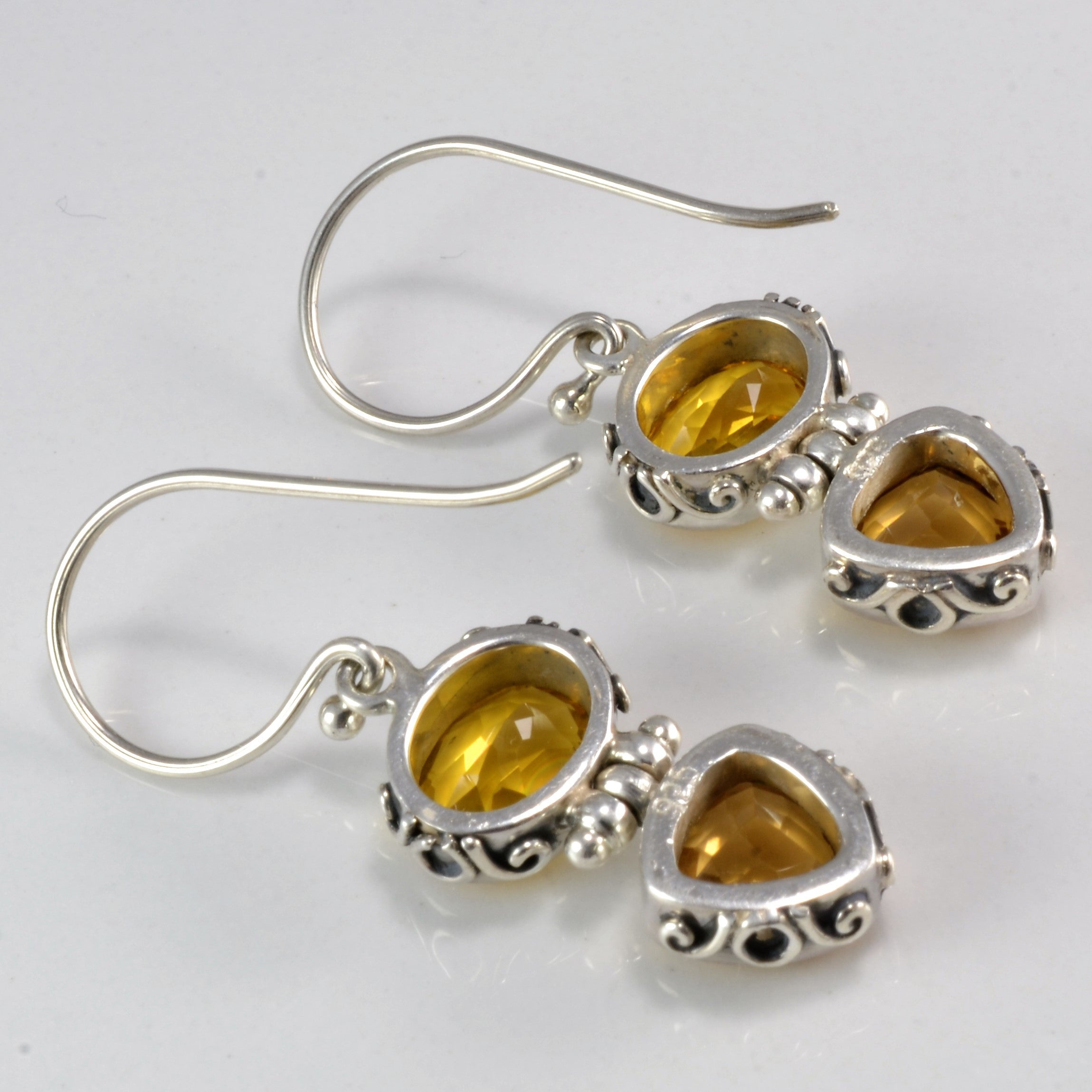 Fancy Sterling Citrine Dangle Earrings