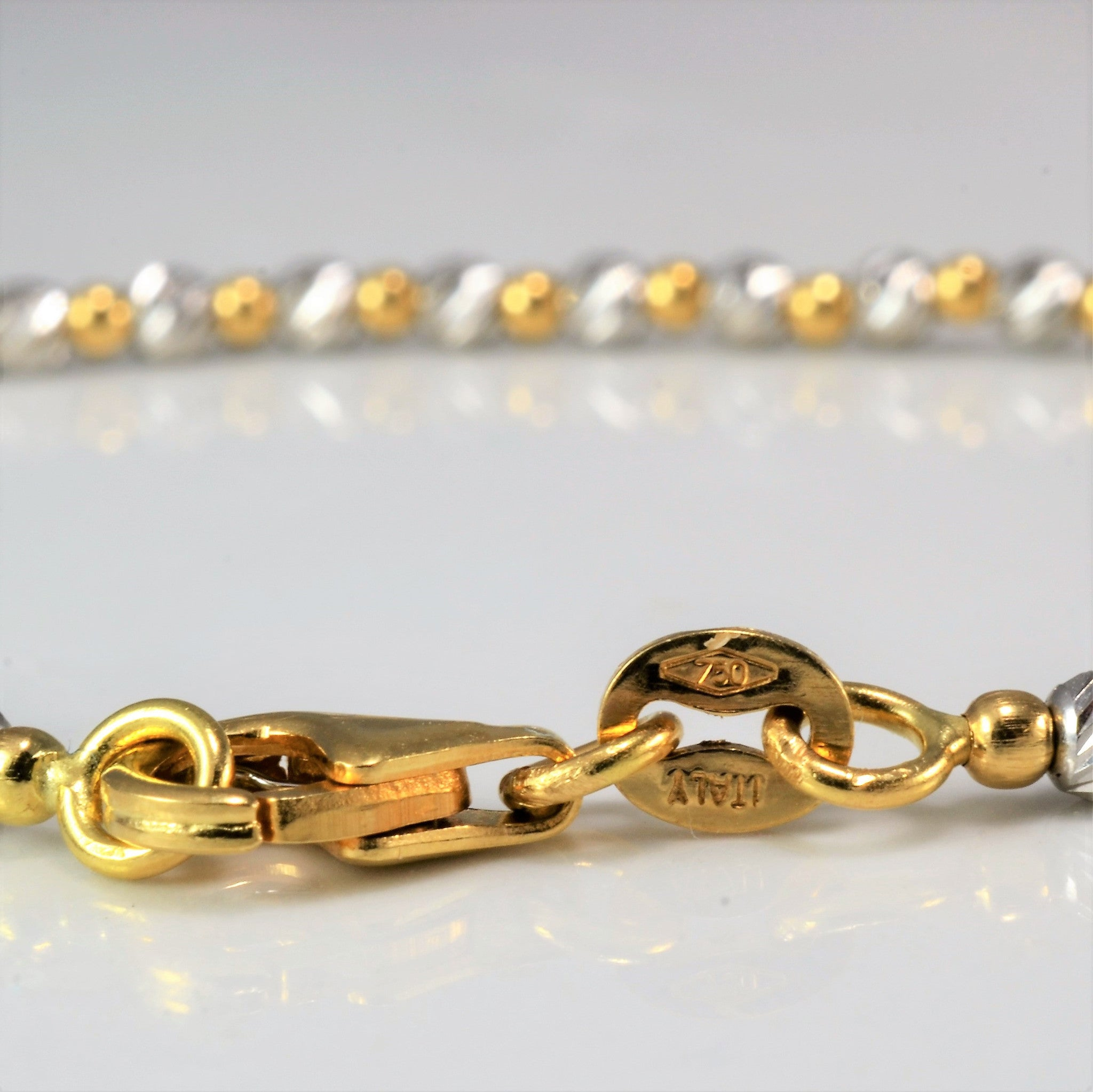 Two Tone Gold Beaded Bracelet | 7"
