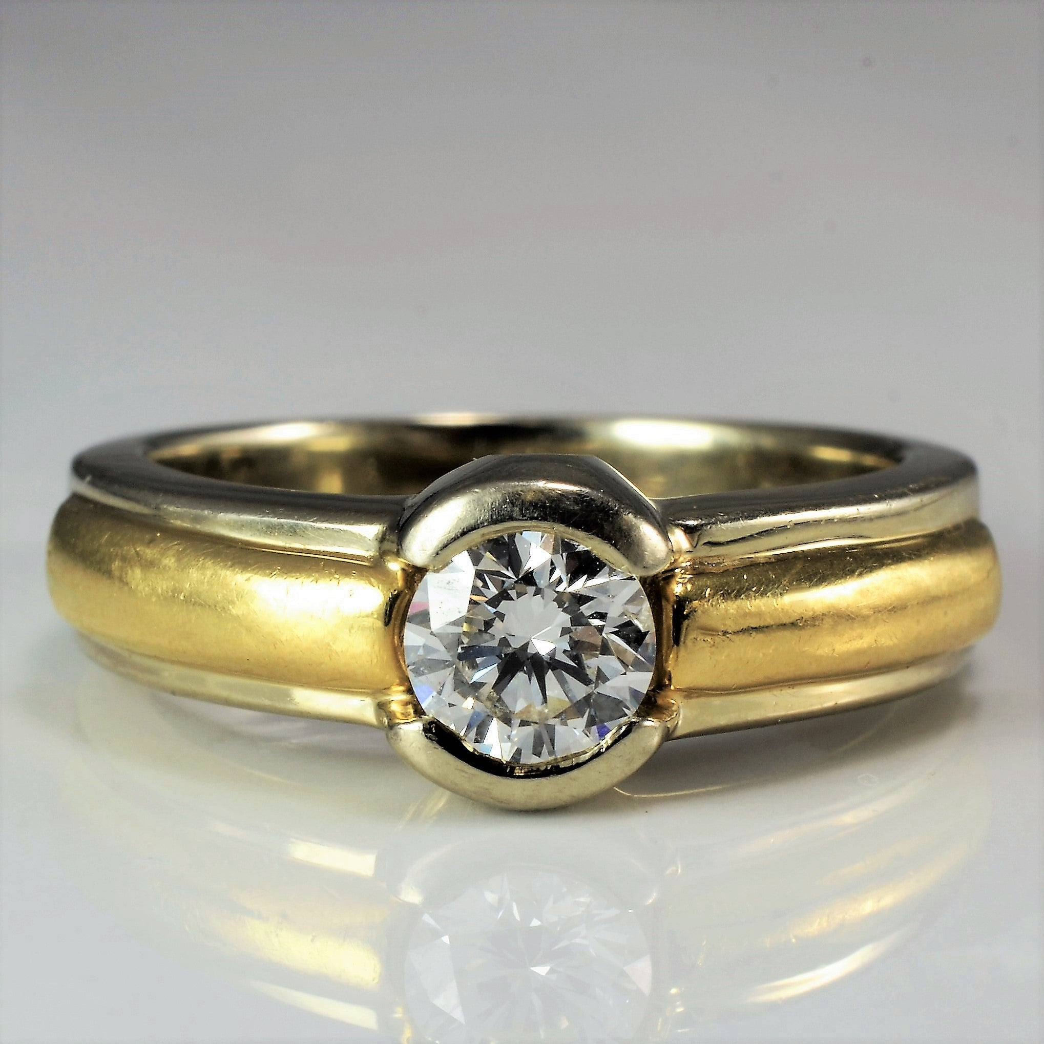 ring itm ct rings cut two solitaire engagement gold diamond piece set yellow round ebay bridal