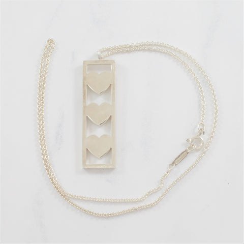 'Tiffany & Co.' Triple Heart Bar Necklace | SZ 16"