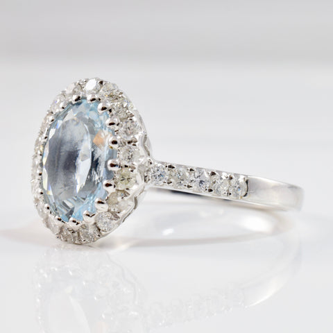 Aquamarine and Diamond Halo Ring | 0.56 ctw SZ 7.25 |