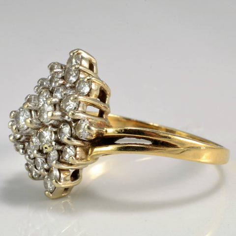 Marquise Shaped Diamond Cluster Ring | 0.94 ctw, SZ 8.25 |