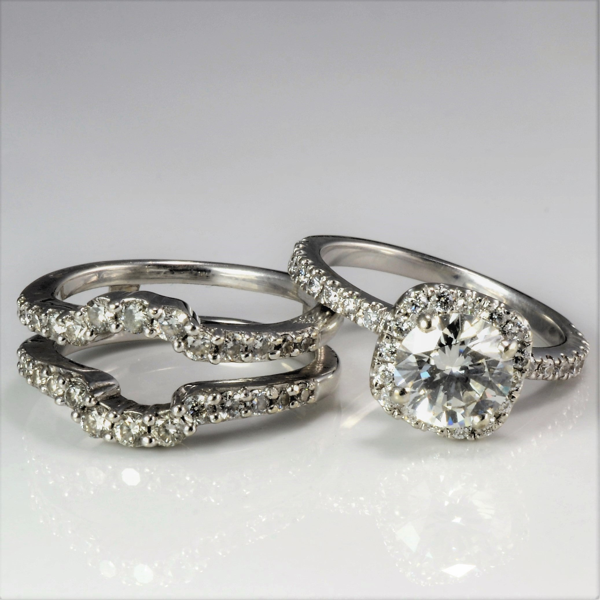 Elegant Halo Diamond Wedding Set | 1.85 ctw, SZ 4.5 |