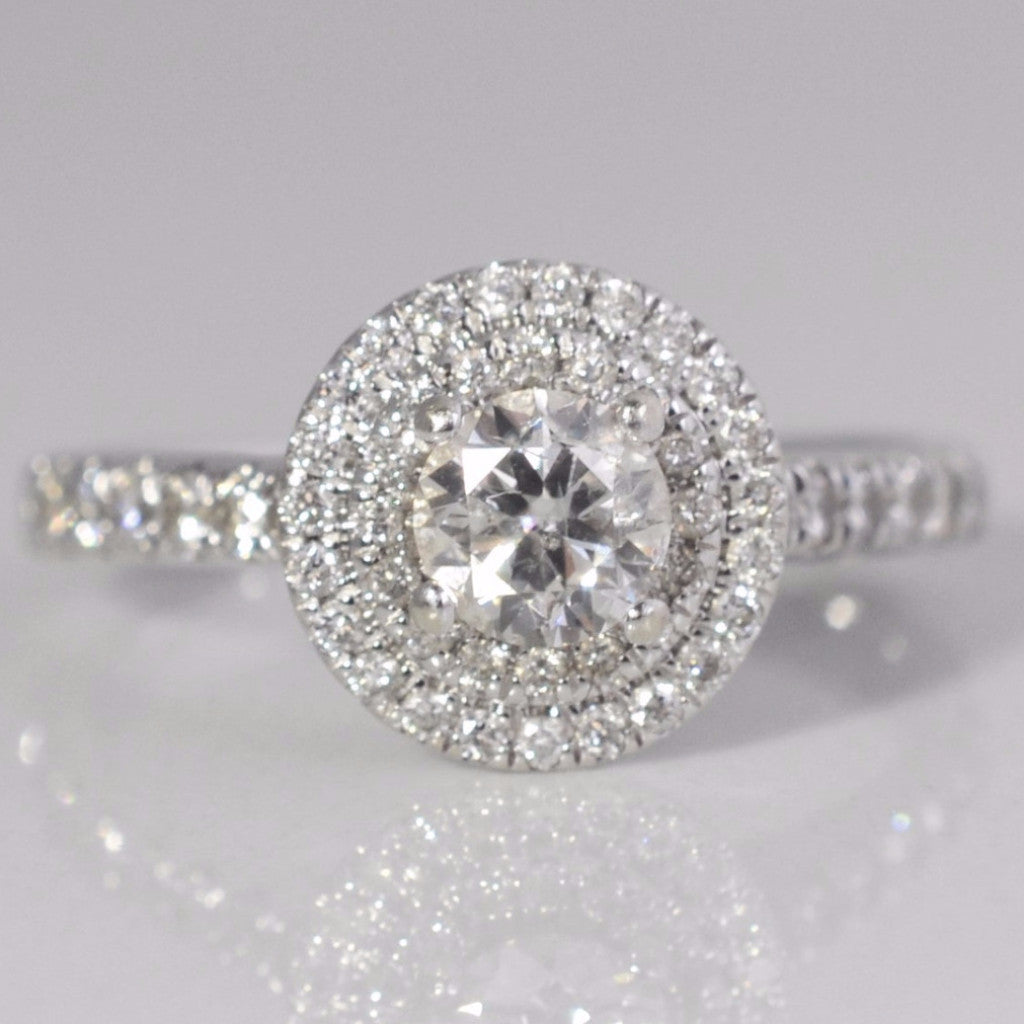 Double Halo Modern Diamond Engagement Ring | 0.83 ctw, SZ 7 |