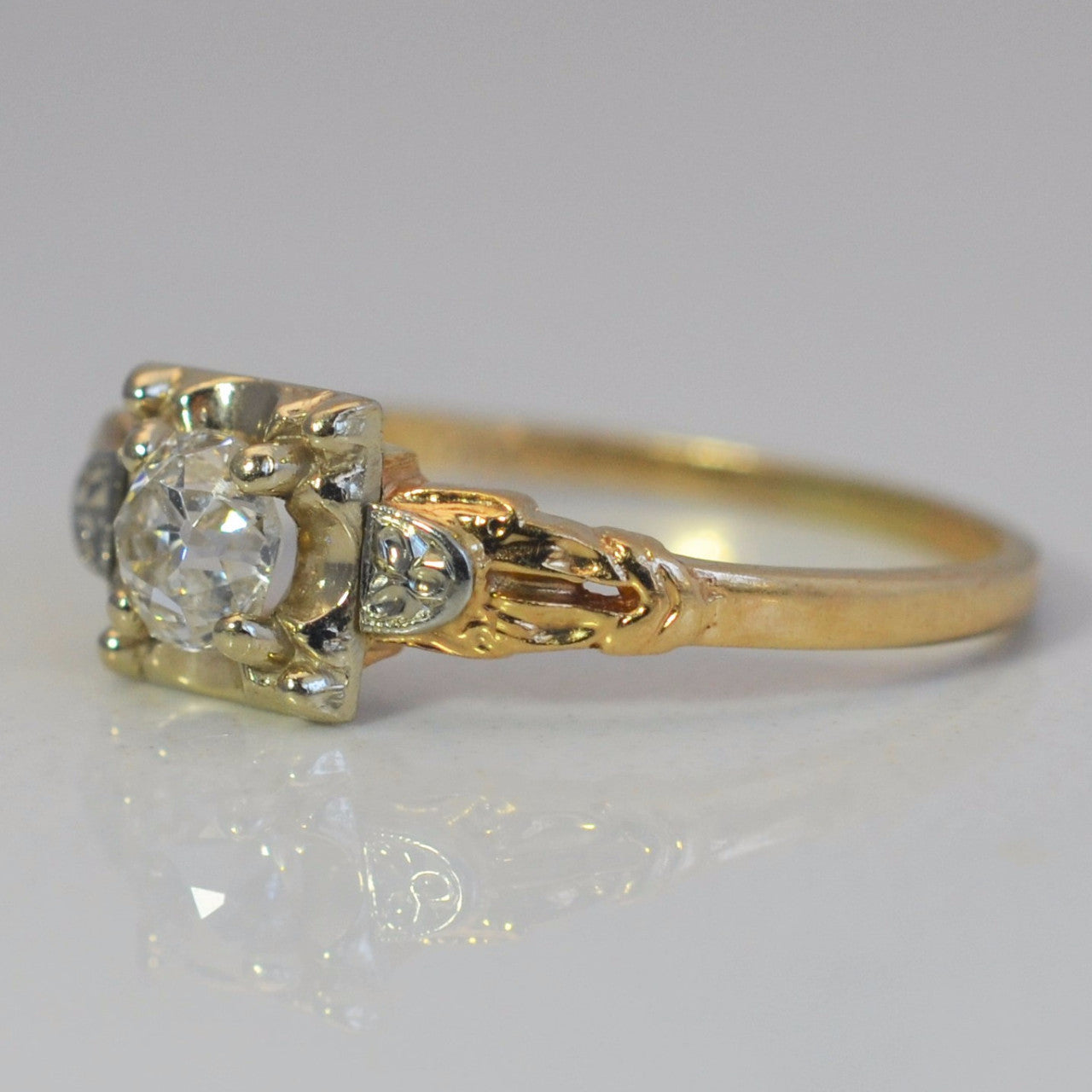 'Orange Blossom' Diamond Engagement Ring Circa 1930s | 0.37ct | SZ 7.75 |