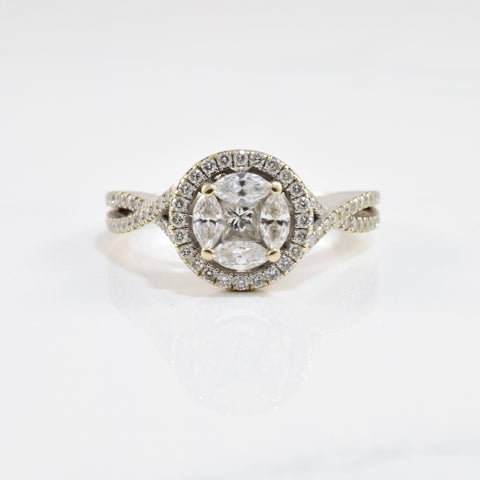 Mixed Cut Diamond Halo Engagement Ring | 0.53 ctw SZ 6.5 |