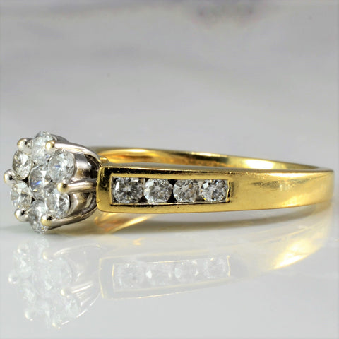 Beautiful Cluster Diamond Engagement Ring SZ 7