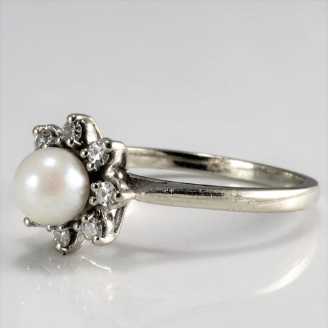 """Birks"" Flower Design Pearl & Diamond Ring 