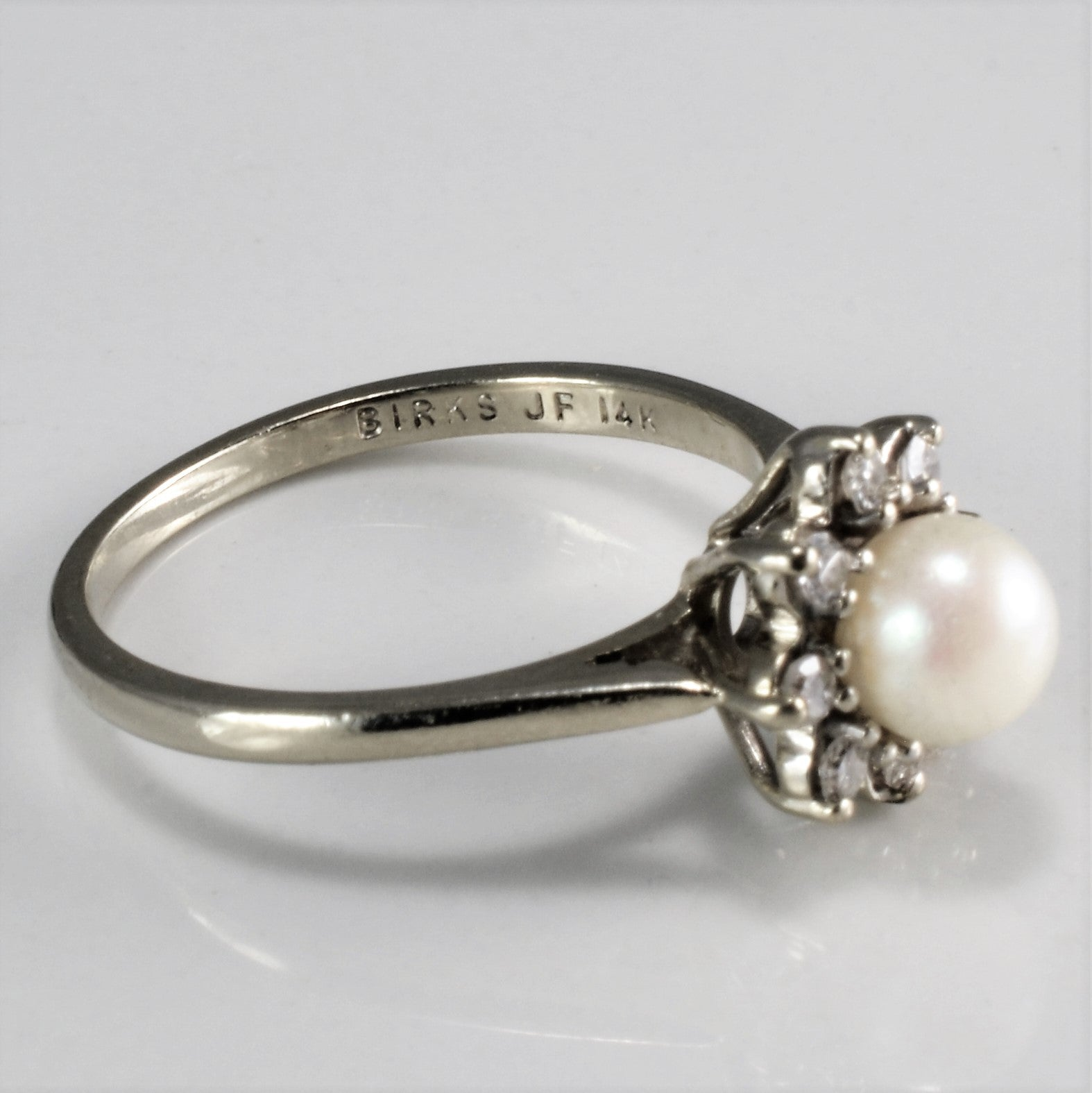 'Birks' Pearl & Diamond Flower Ring | 0.18ctw, 1.11ct | SZ 6 |