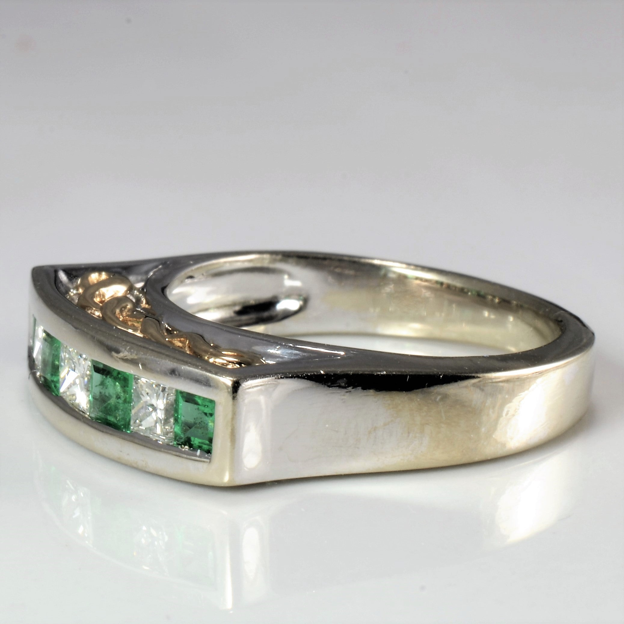 High Set Channel Emerald & Diamond Ring | 0.24 ctw, SZ 5.5 |