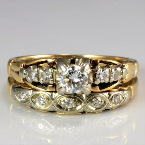 Vintage Retro Era Diamond Wedding Ring Set | 0.26 ctw, SZ 5.5 |