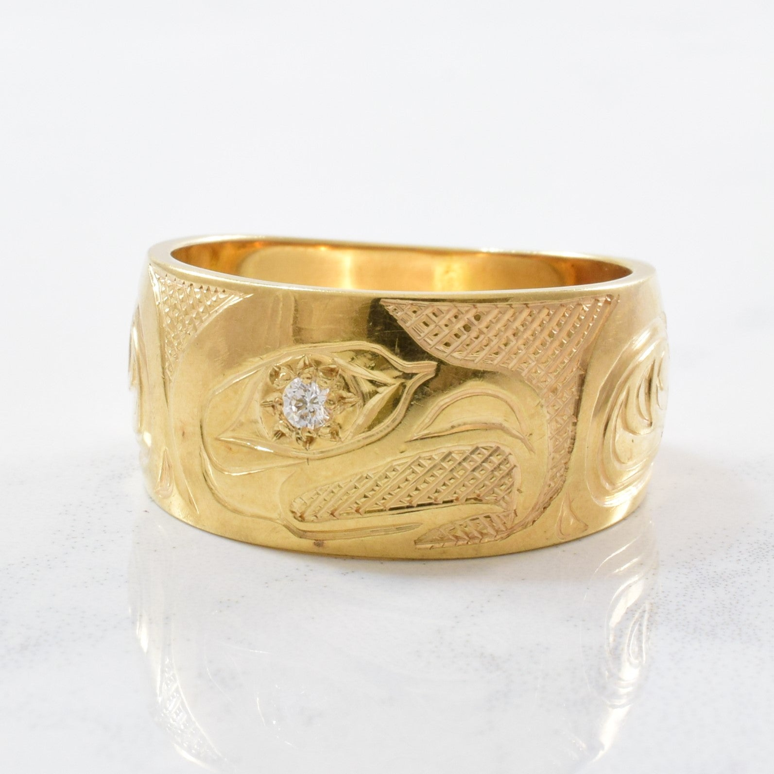 Indigenous Raven Art Diamond Ring | SZ 7.5 |