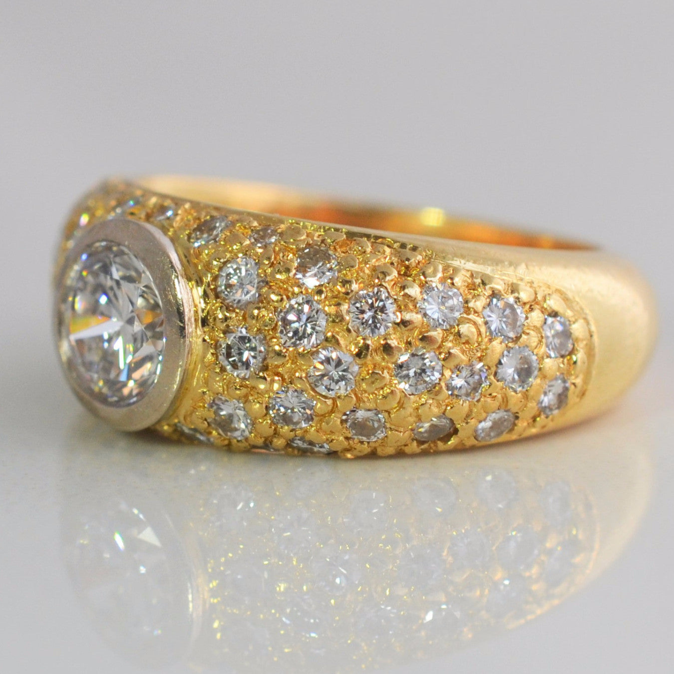 ring kate engagement yellow champ champagne halo set bezel diamond rings gold