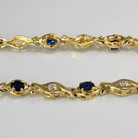 Crossover Sapphire & Natural Diamond Tennis Bracelet | 7''|