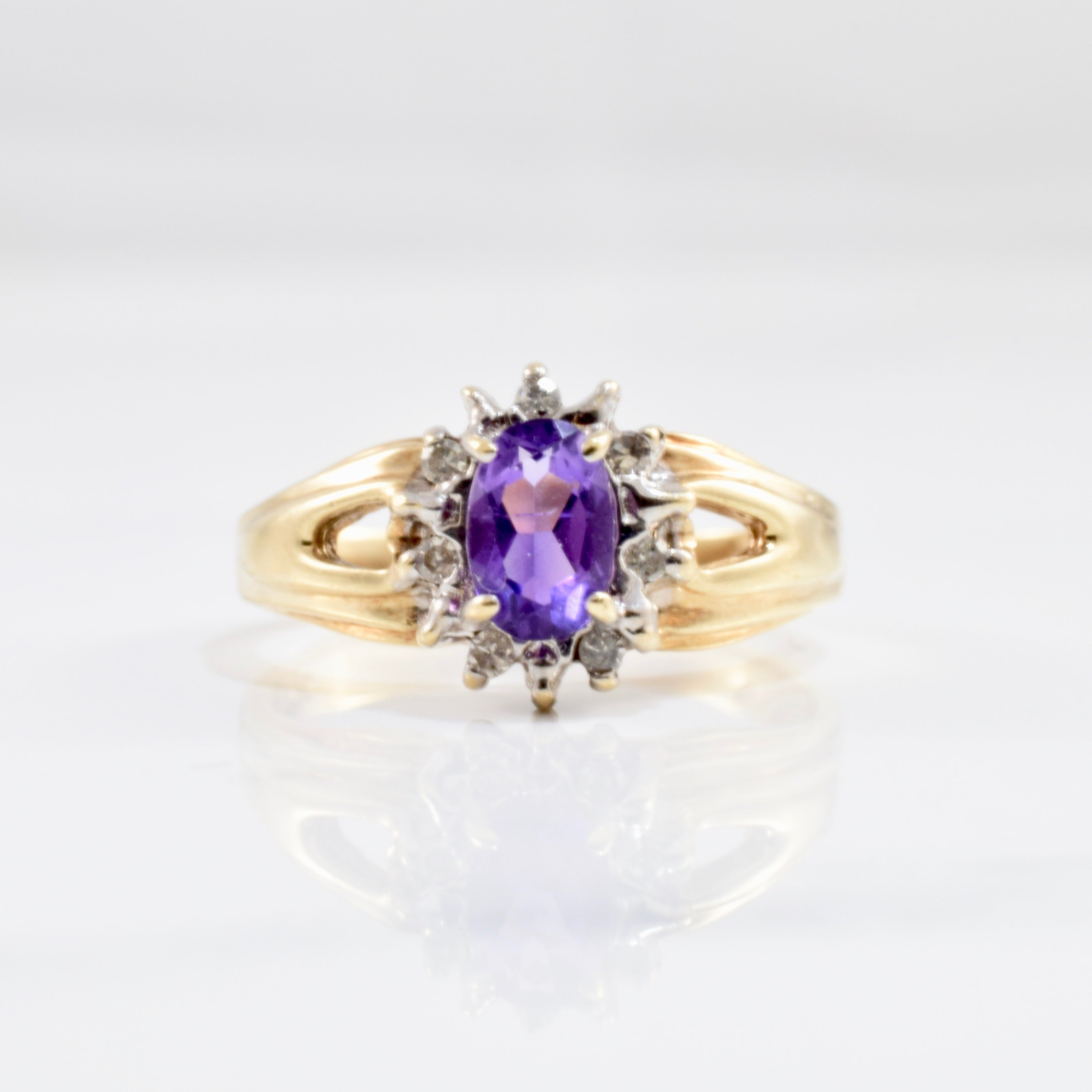 Amethyst & Diamond Halo Ring | 0.06 ctw SZ 5.25 |
