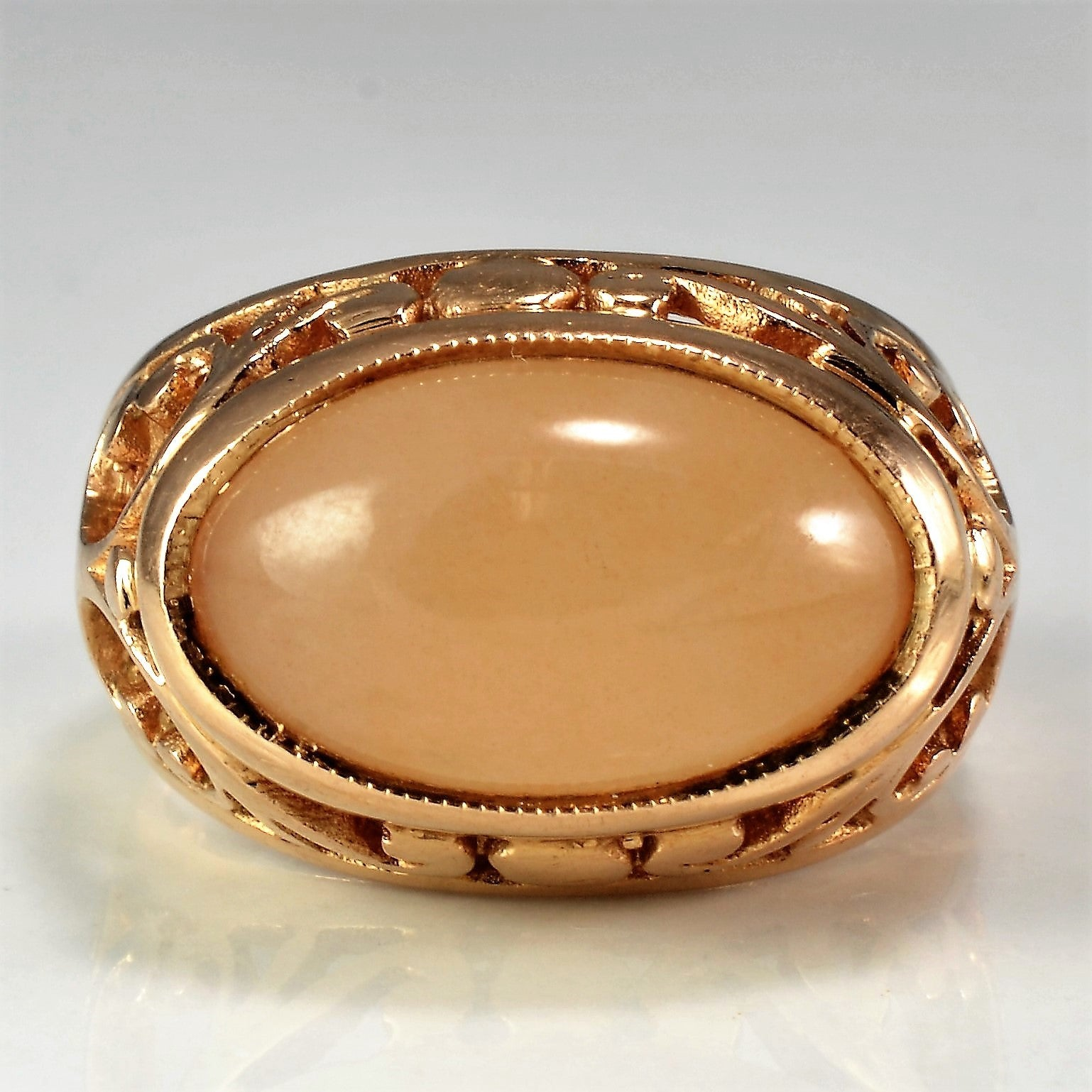 Vintage Rose Gold Peach Moonstone Ring | SZ 7 |