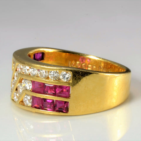 Channel Set Diamond & Ruby Wide Band | 0.71 ctw, SZ 5.75 |
