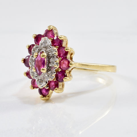 Marquise Shaped Ruby & Diamond Cluster Ring | 0.04ctw, 1.35ctw | SZ 7.25 |