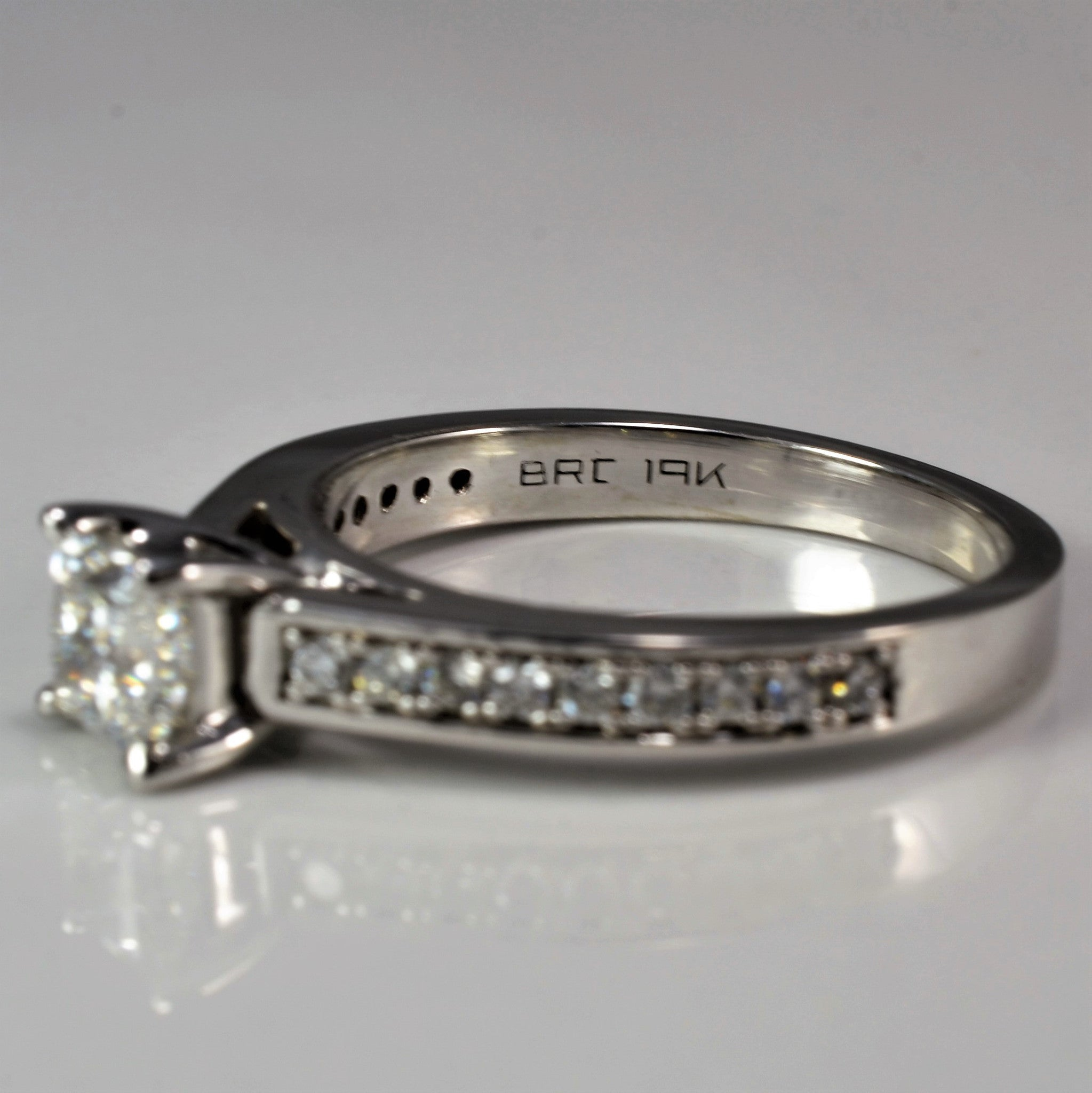Princess Cut Engagement Ring With Accented Shank | 0.77 ctw, SZ 5.75 |