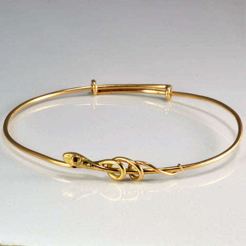 14K Gold Snake Design Bangle Bracelet | 7''|