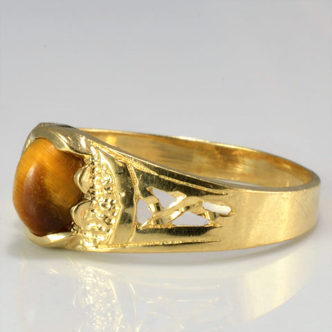 Solitaire Tiger's Eye 10K Gold Ring | SZ 10 |