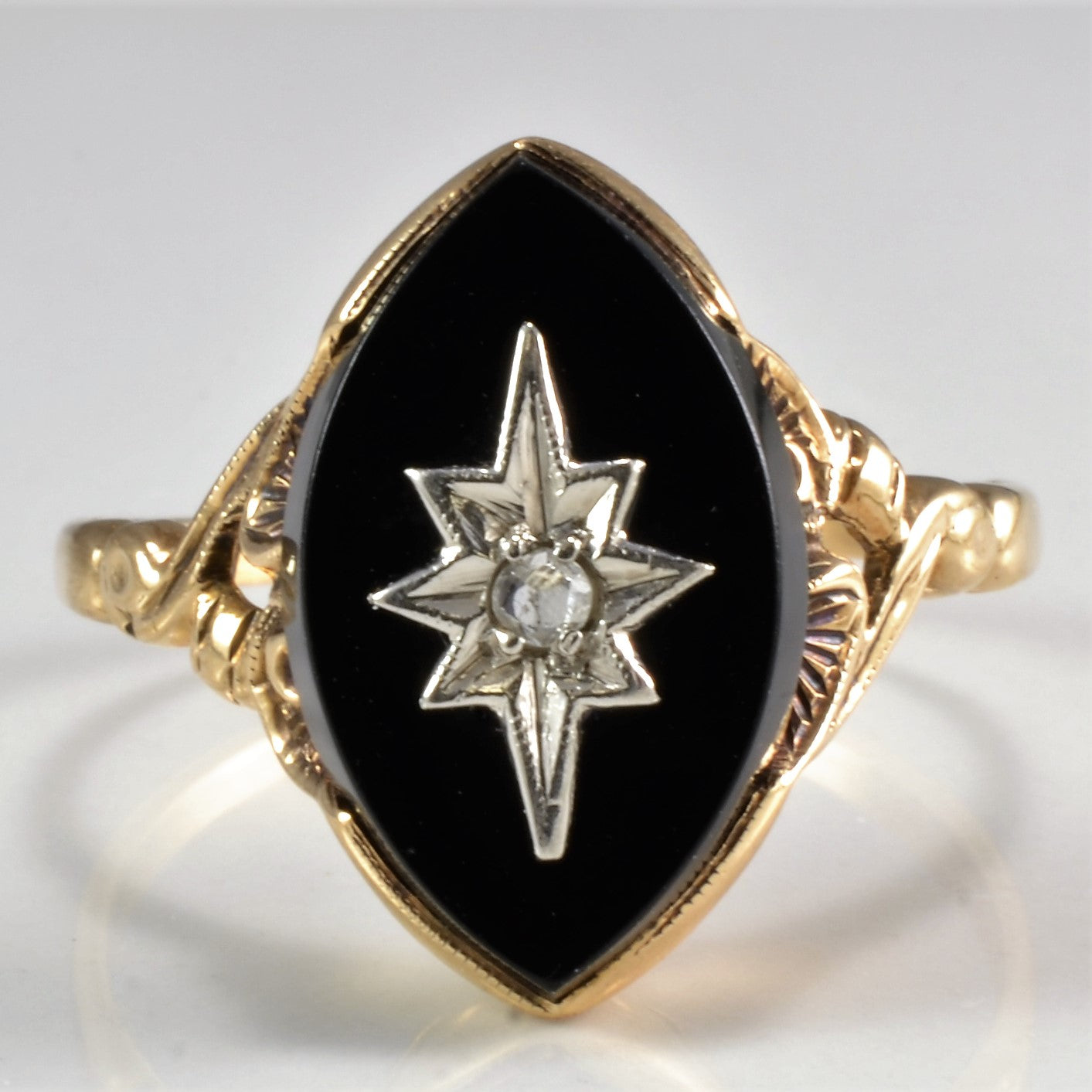 Vintage Marquise Onyx with Diamond Ring | 0.02 ct, SZ 8.5 |