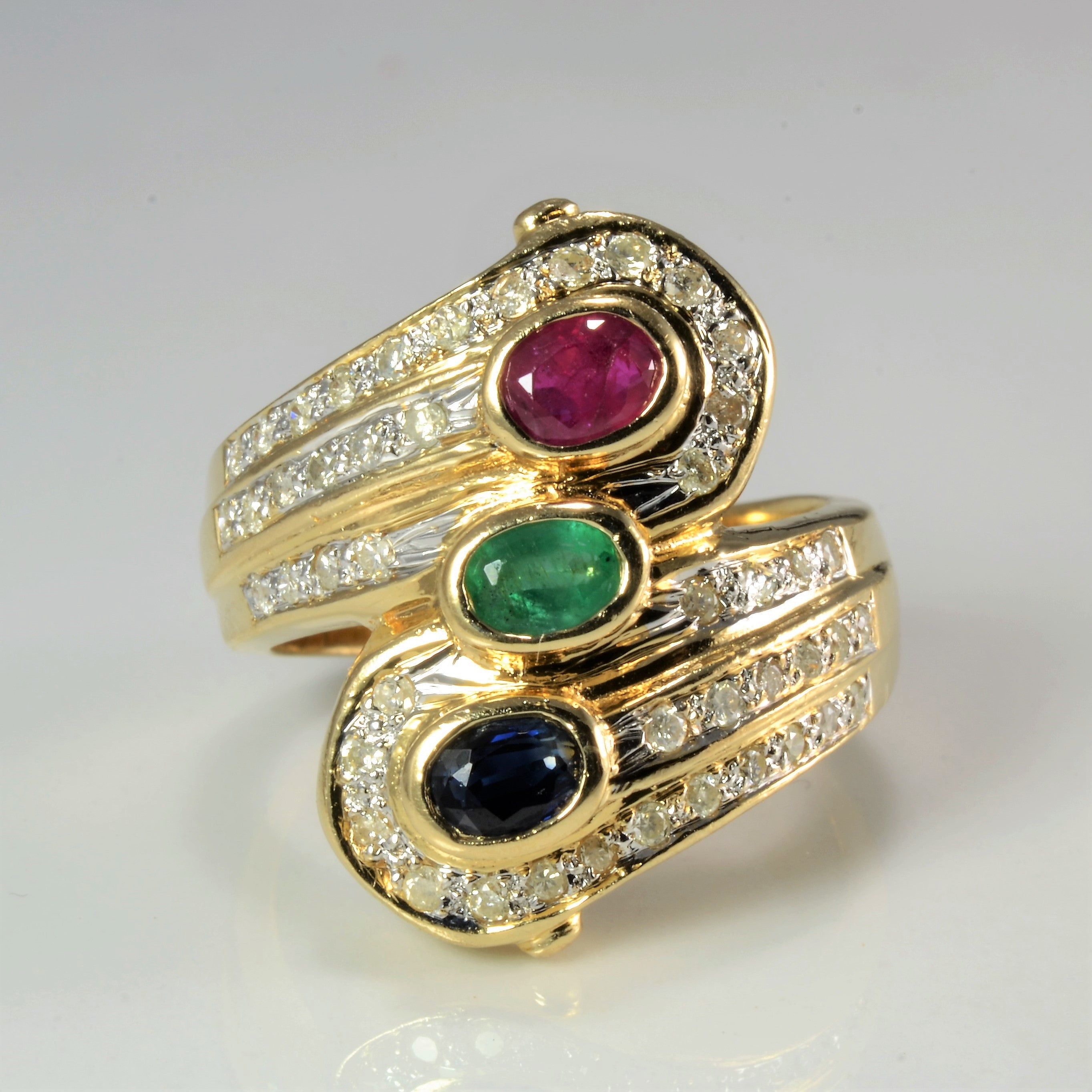 Bezel Set Multi Gem Wide Bypass Ring | 0.23 ctw, SZ 6.5 |