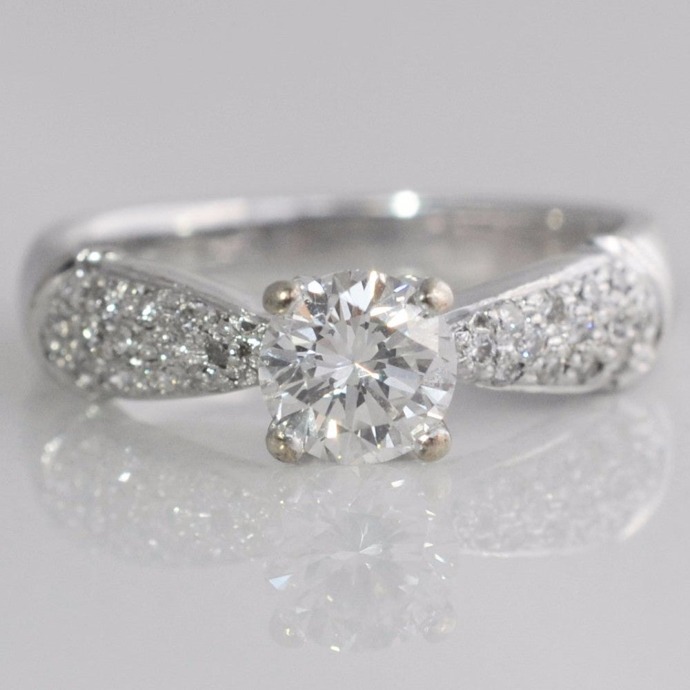 Pave Detailed Tapered Engagement Ring | 0.65 ctw, SZ 4 |