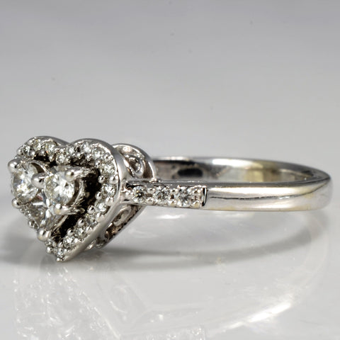 Heart Design Cathedral Set Diamond Ring | 0.28 ctw, SZ 5.5 |