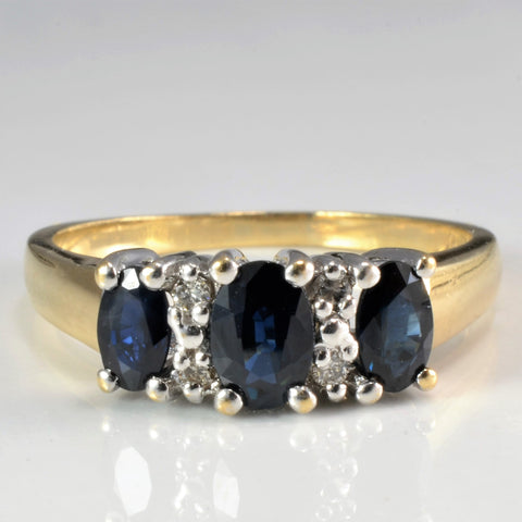 Three Stone Sapphire & Diamond Ladies Ring | 0.06 ctw, SZ 7.75 |