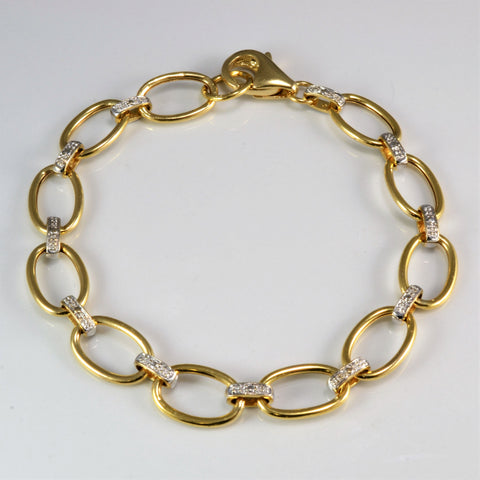 Two Tone Oval Link Gold Chain Bracelet | 8''|