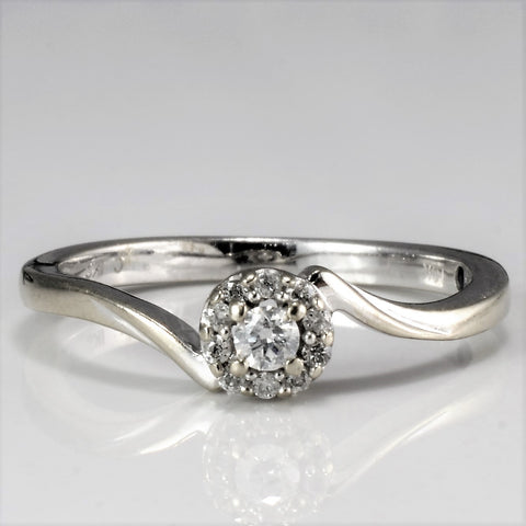 10K Offset Cluster Diamond Promise Ring | 0.09 ctw, SZ 5.75 |