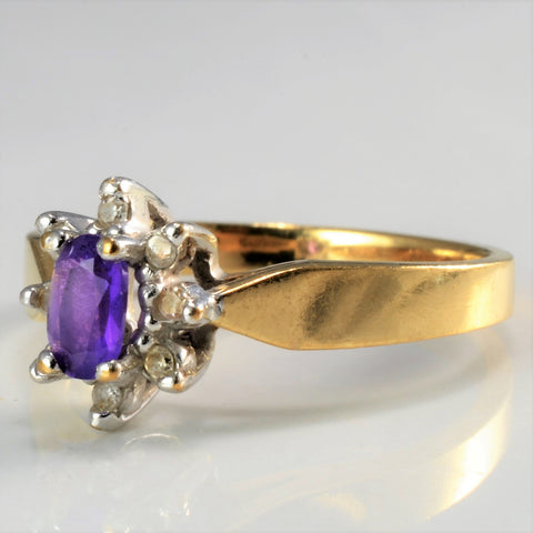 Amethyst & Diamond Cocktail Ring | 0.05 ctw, SZ 6 |