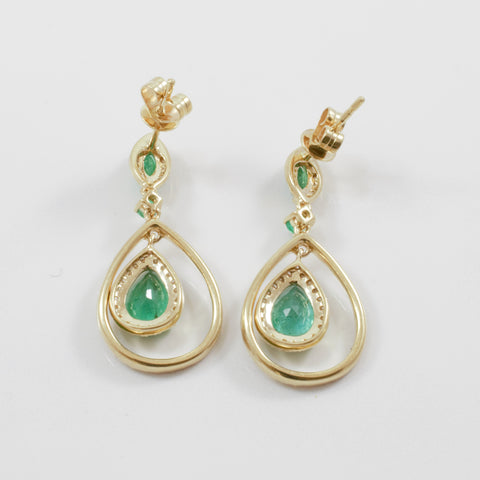 'Effy' Brasilica Yellow Gold Emerald & Diamond Earrings | 0.30ctw, 2.30ctw |