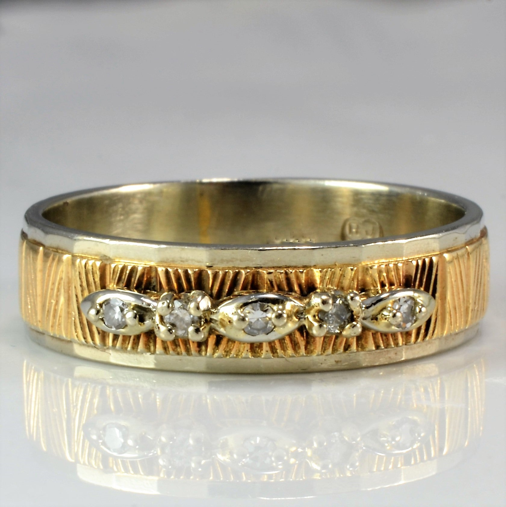 Vintage Textured Diamond Band | 0.08 ctw, SZ 10.5 |