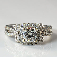'Vera Wang' Infinity Knot Detailed Diamond Halo Ring | 1.65ctw | SZ 7 |