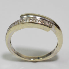 White Gold Diamond Bypass Band | 0.03 ctw, SZ 6 |