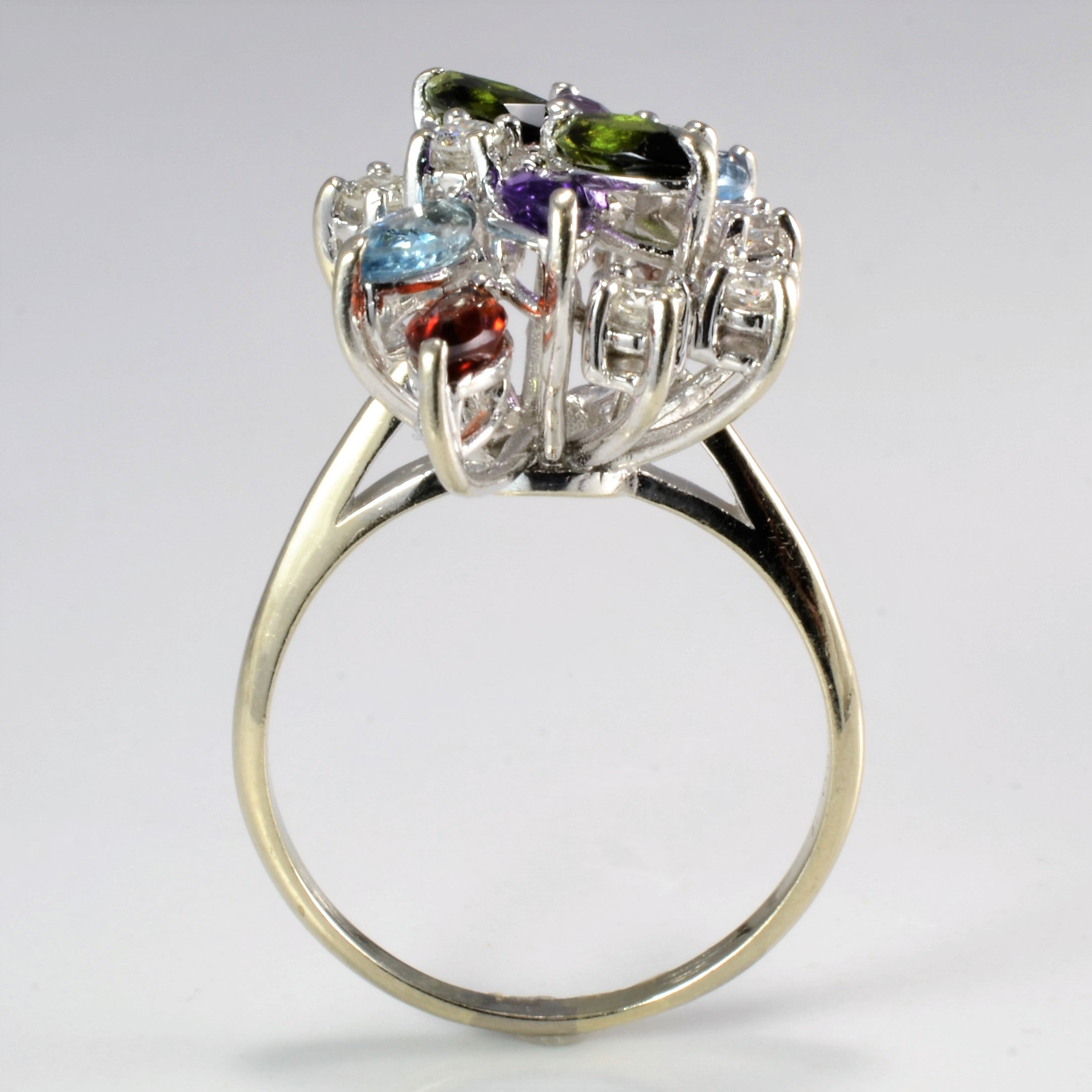 Floral Inspired Diamond & Multi Gemstone Ring | 0.40 ctw, SZ 9 |