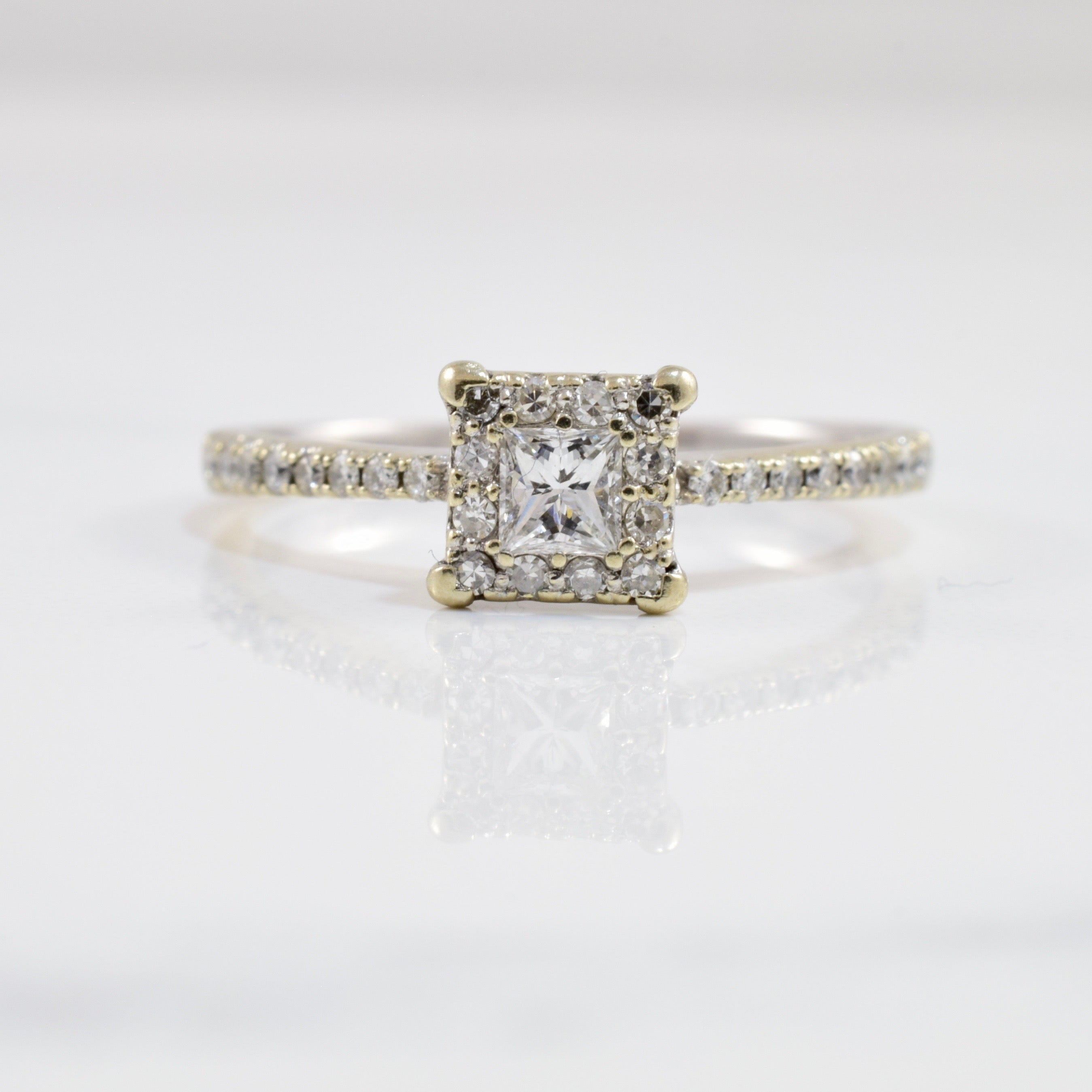 Petite Princess Diamond Halo Ring | 0.27 ctw SZ 7.25 |
