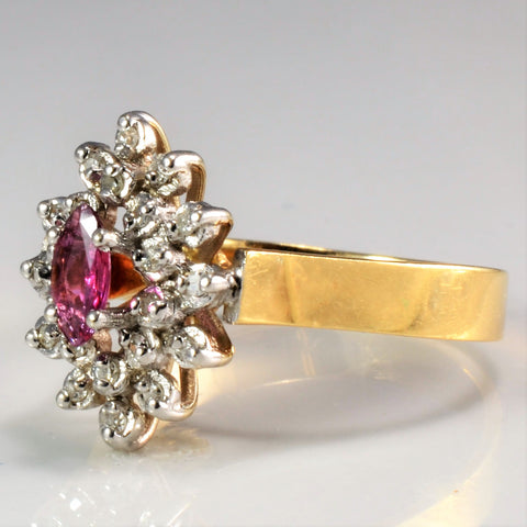 Marquise Ruby & Diamond Ladies Cocktail Ring | 0.15 ctw, SZ 6.5 |