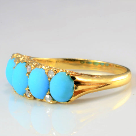 Vintage Five Stone Turquoise & Accents Diamond Ring | 0.08 ctw, SZ 6.5 |