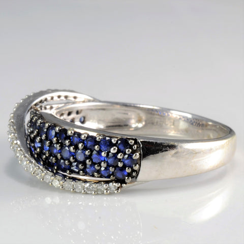 Pave Diamond & Sapphire Fancy Ladies Ring | 0.13 ctw, SZ 8.5 |