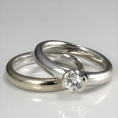 BIRKS Semi Bezel Diamond Wedding Set | 0.31 ct, SZ 7 |